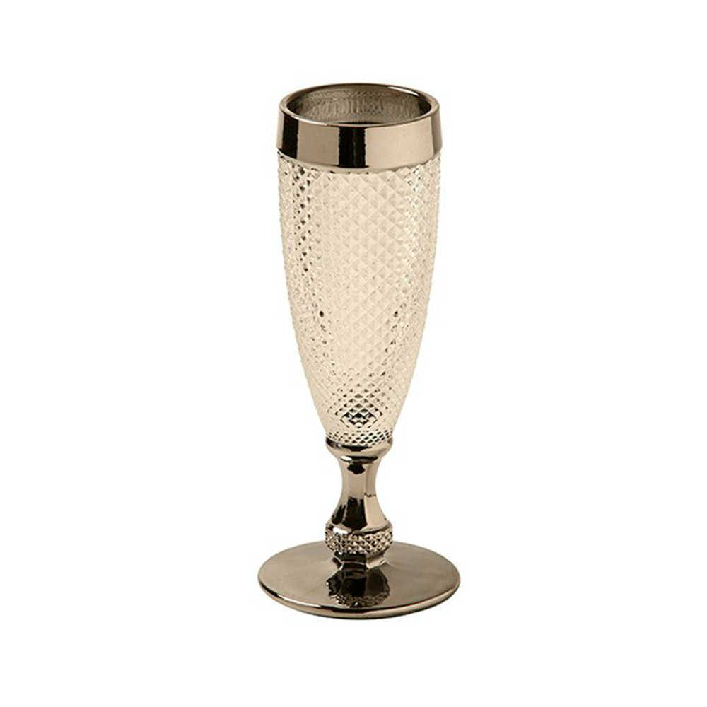 Taça para Champanhe Diamond Transparente e Prata em Vidro Lapidado - 18x7 cm