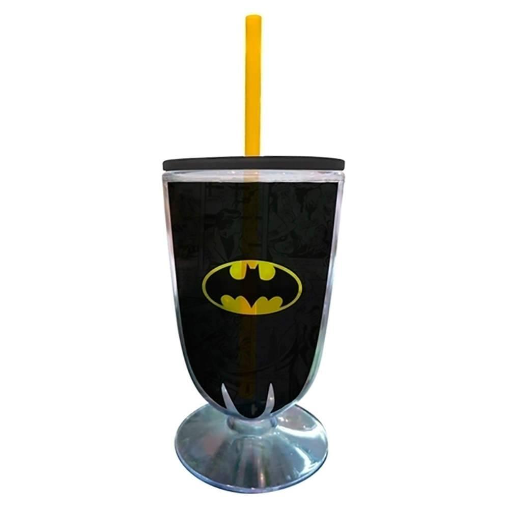 Taça DC Comics Batman Logo 550 ml Preto e Amarelo em Acrílico - Urban - 25x10,5 cm