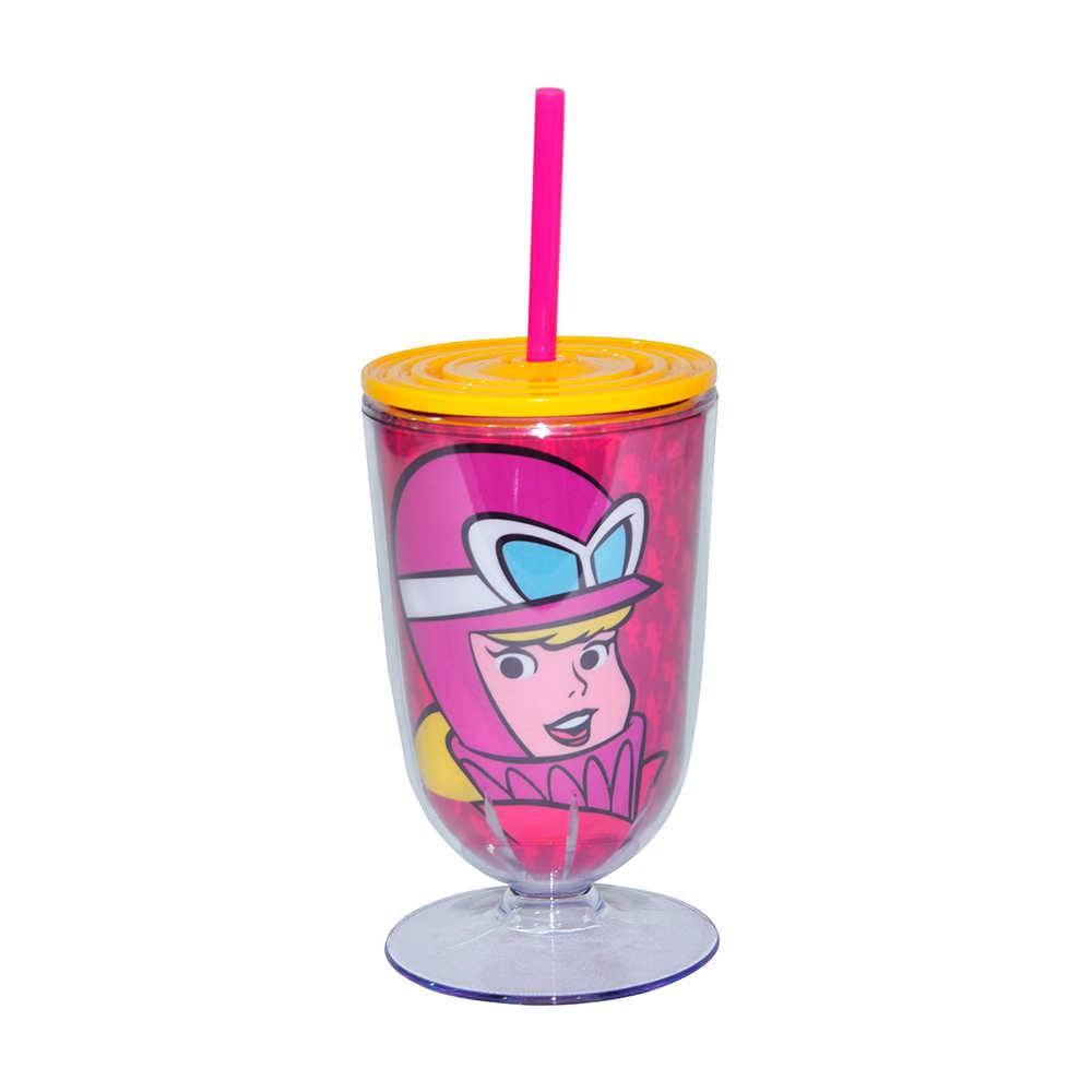 Taça Hanna Barbera Dino 550 ml Fundo Rosa em Acrílico - 25x10,5 cm