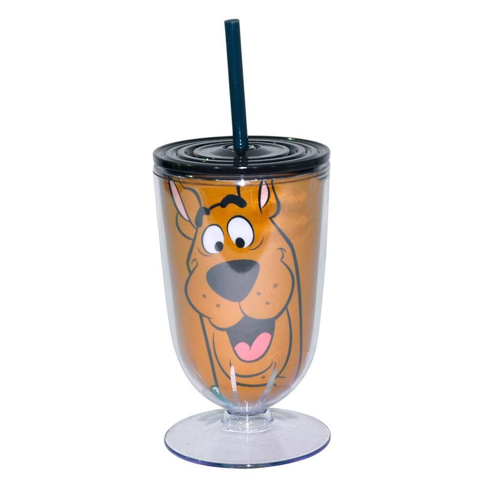 Taça Hanna Barbera Scooby Face Fundo Marrom em Acrílico - Urban - 25x10,5 cm