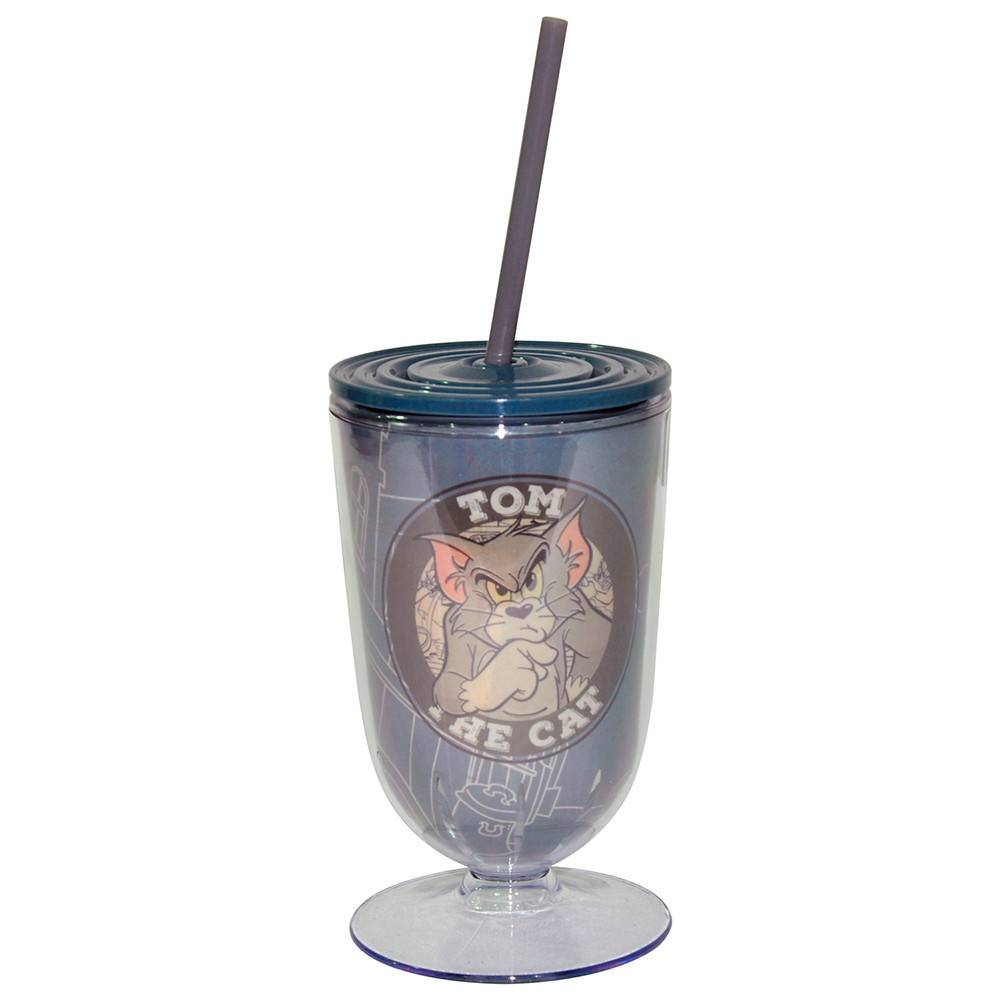 Taça Hanna Barbera Tom And Jerry Mad Cat Fundo Cinza em Acrílico - Urban - 25x10,5 cm