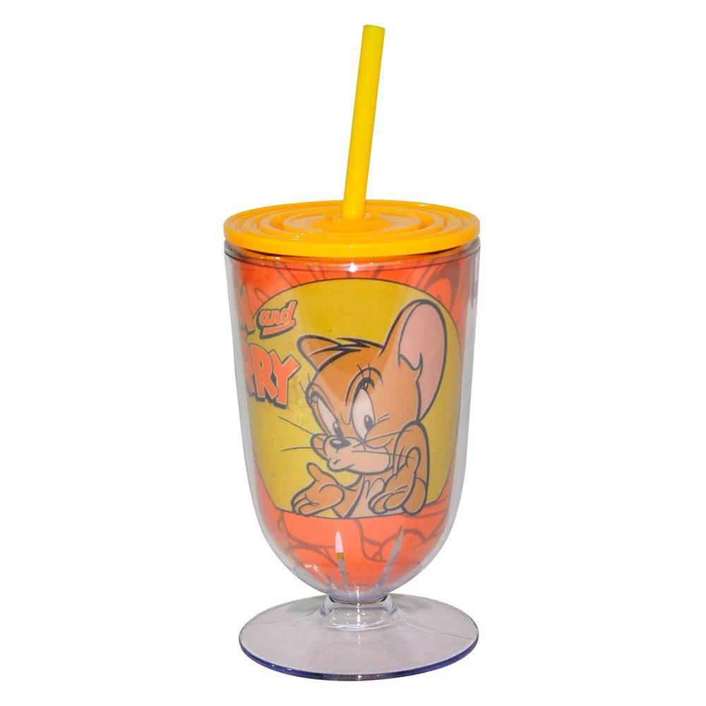 Taça Hanna Barbera Tom And Jerry Mouse What Happened Fundo Vermelho em Acrílico - Urban - 25x10,5 cm