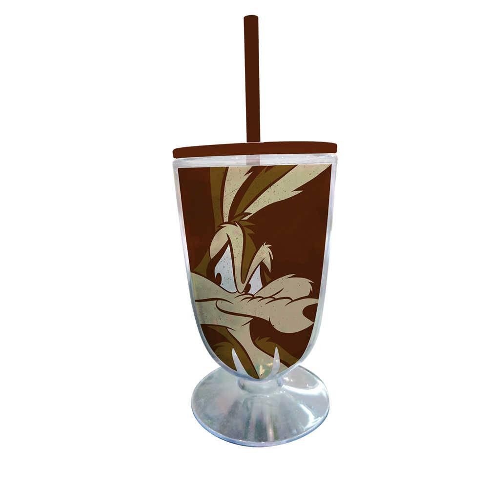 Taça Looney Tunes Coyote Big Face - 550 ml - Marrom em Acrílico - Urban - 25x10,5 cm