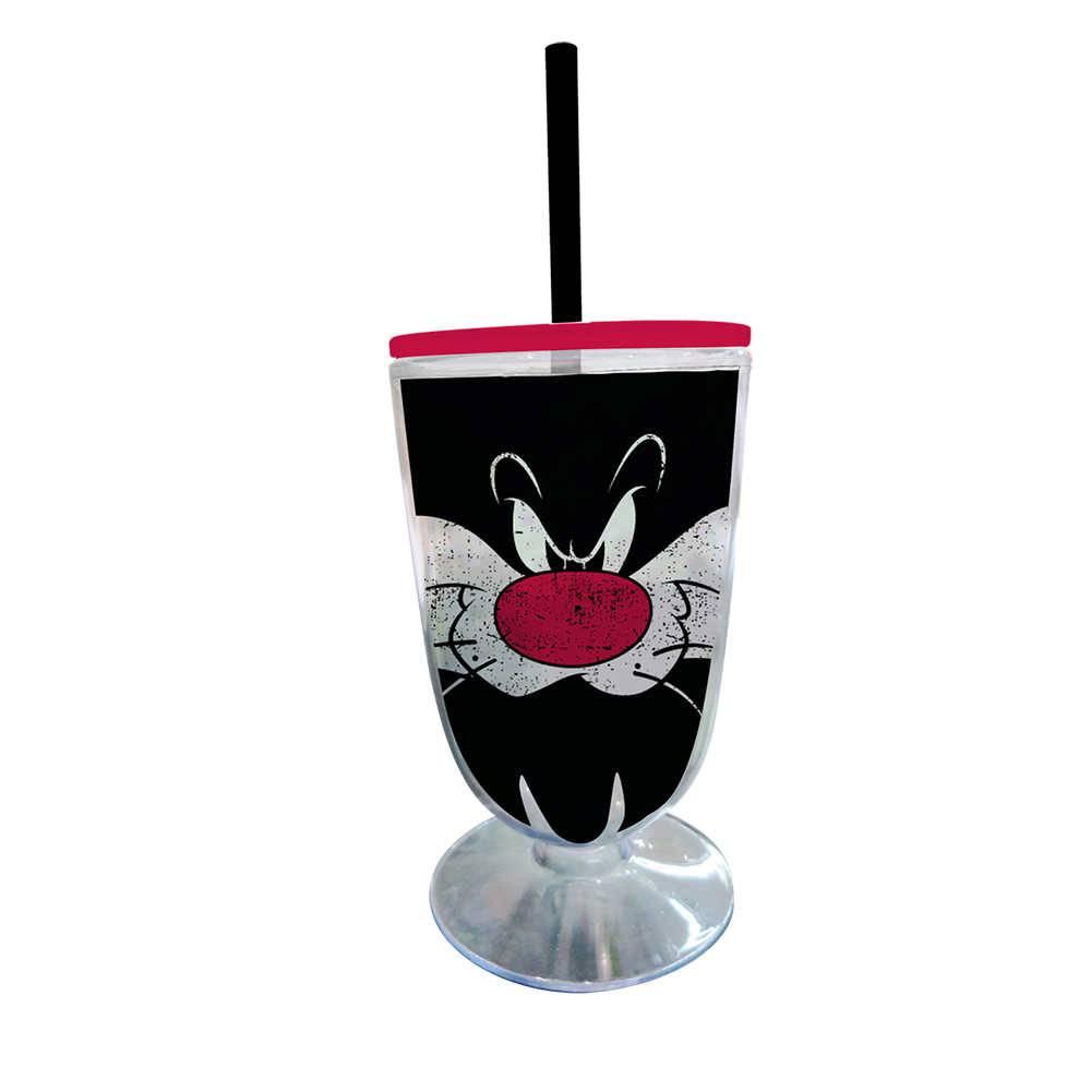 Taça Looney Tunes Sylvester Big Face - 550 ml - Preto em Acrílico - Urban - 25x10,5 cm