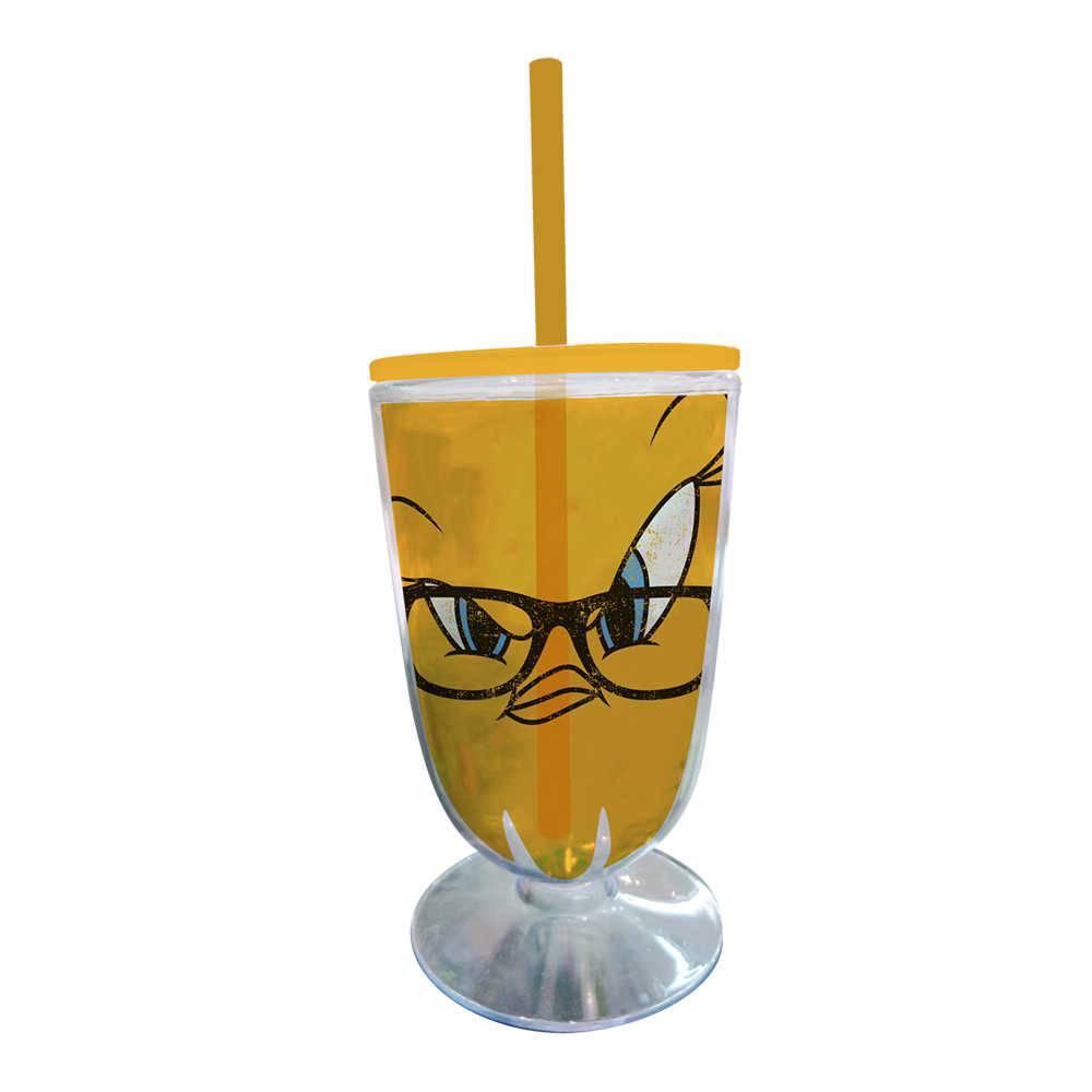 Taça Looney Tunes Tweety Big Face - 550 ml - Amarelo em Acrílico - Urban - 25x10,5 cm