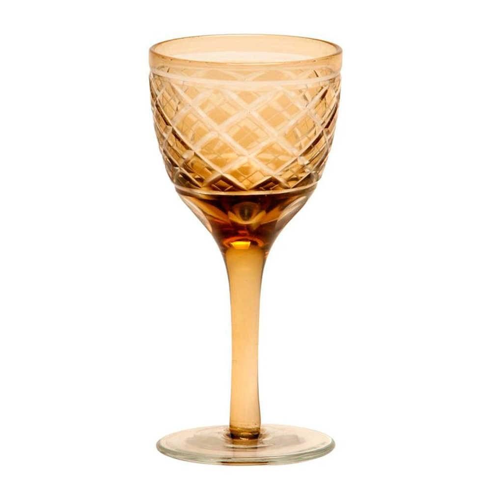 Taça para Vinho Brigith Âmbar em Vidro - 13x5 cm