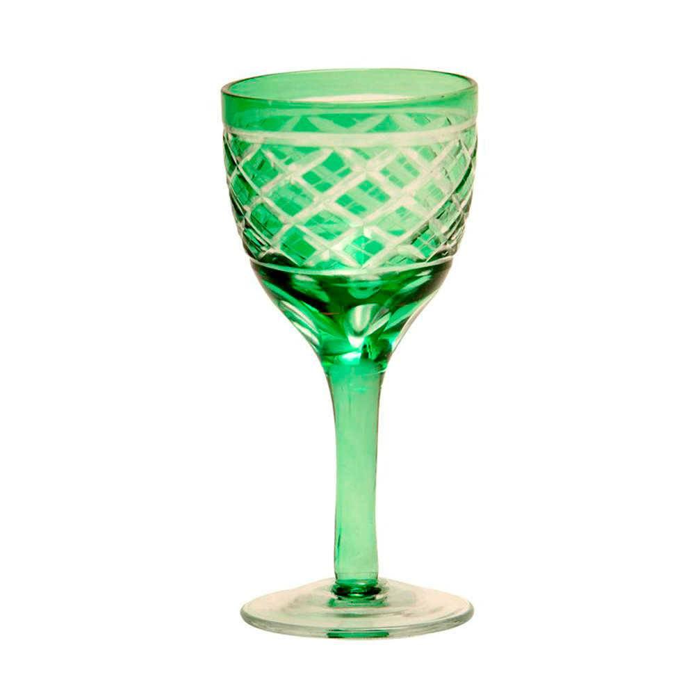 Taça para Vinho Brigith Verde em Vidro - 13x5 cm