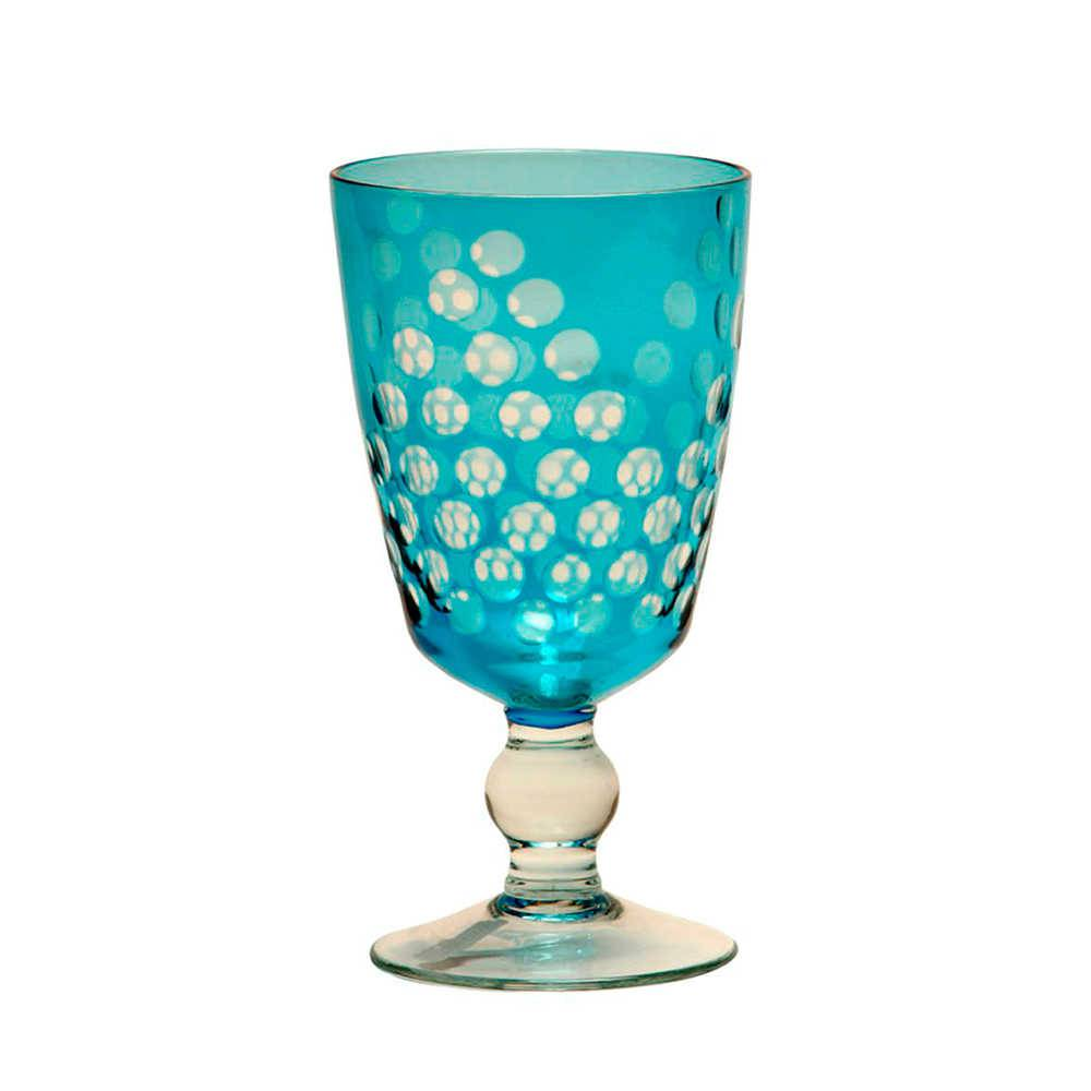 Taça para Vinho Bubbles Turquesa em Vidro - 17x9 cm