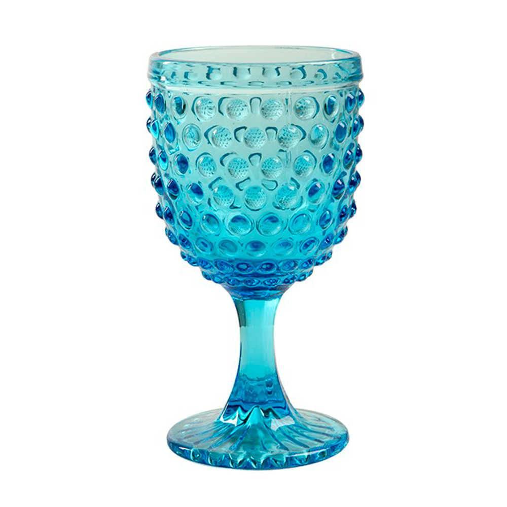 Taça para Vinho Hobnail Azul - 250 ml - em Vidro - 16x9 cm