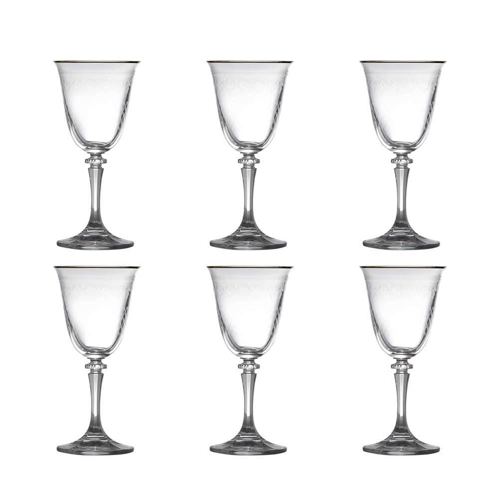 Taças para Vinho Branco Kleopatra Pantografadas Dourado - 6 Peças - 250 ml - em Vidro - Bohemia
