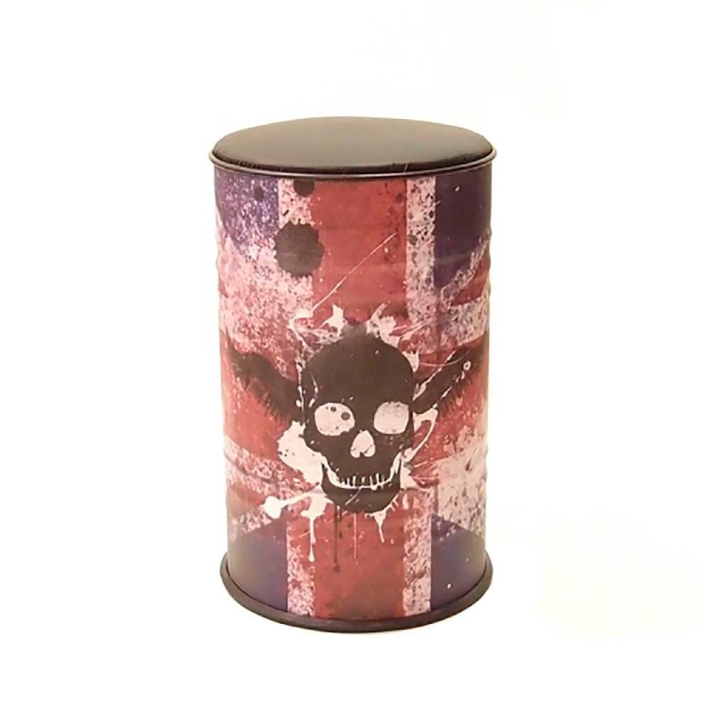 Tambor com Assento Estampa Bandeira da Inglaterra com Caveira Preta em Metal - 60x37 cm