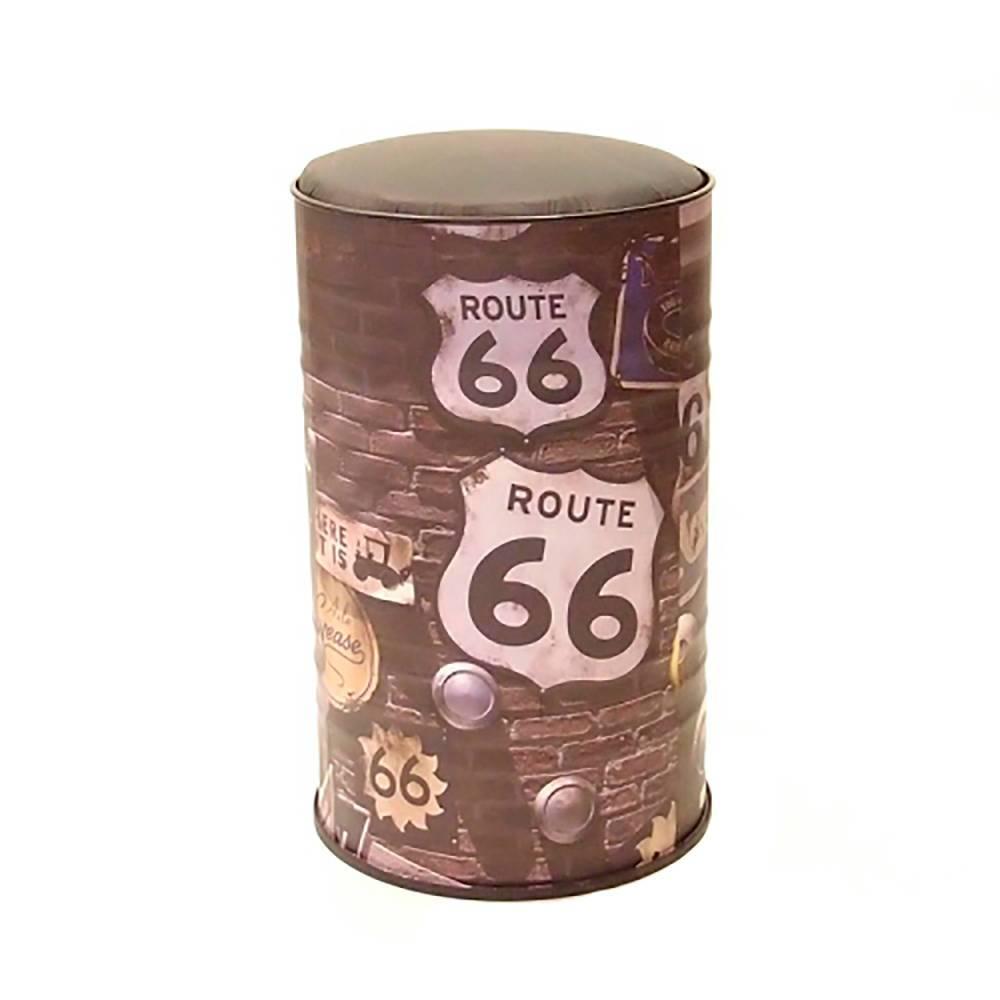 Tambor com Assento Estampa Route 66 Preto em Metal - 60x37 cm