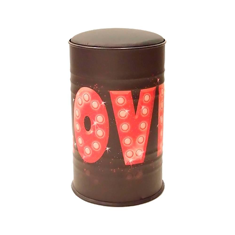 Tambor com Assento Love Vermelho com Fundo Preto em Metal - 60x37 cm