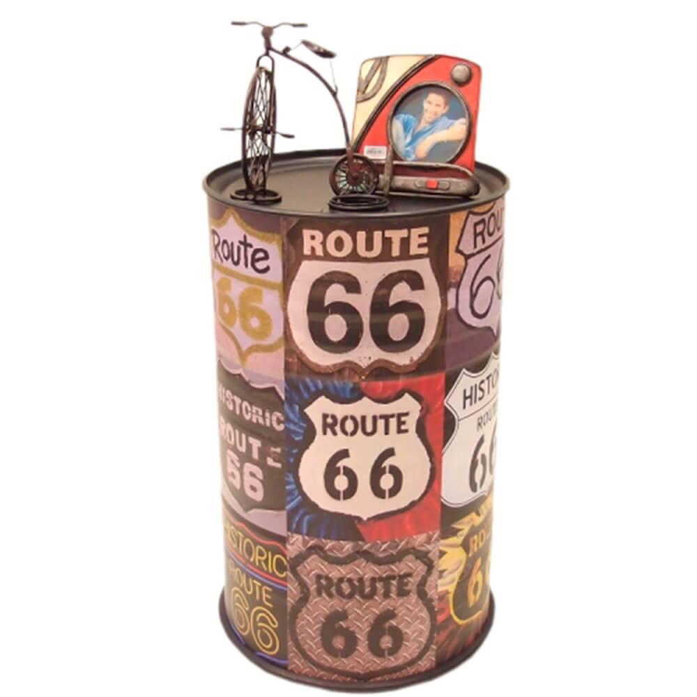 bfab5b8f52 Tambor Decorativo Route 66 Colorido em Metal - 60x37 cm - Compre ...