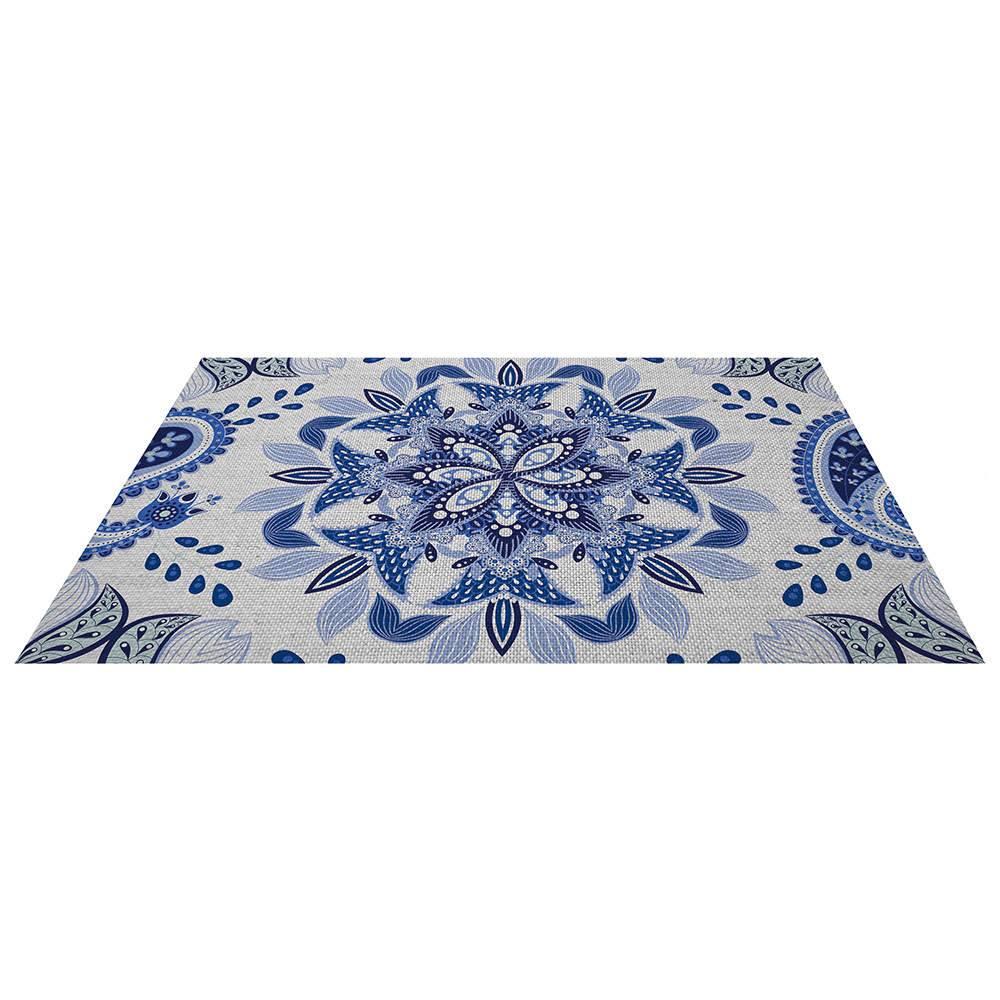 Tapete para Banheiro Indigo Mandala Azul em Poliéster e Algodão - Urban - 68x48 cm