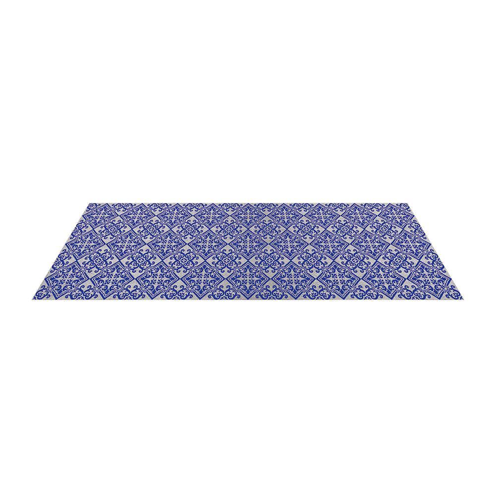 Tapete para Cozinha Indigo Portuguese Tile Azul em Poliéster e Algodão - Urban - 117x48,5 cm