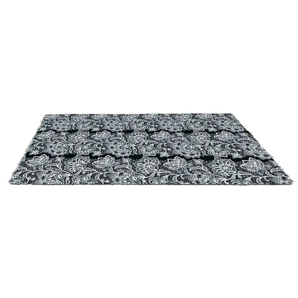 Tapete Dark Living White Lace em Poliéster e Algodão - Urban - 2,0x1,5 m