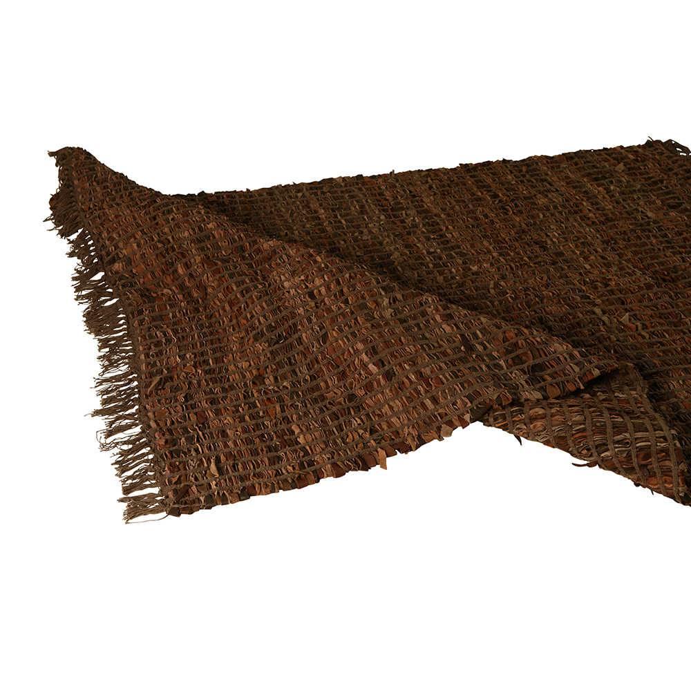 Tapete Grande Shaggi Marrom em Algodão com Tiras de Couro - 300x240 cm