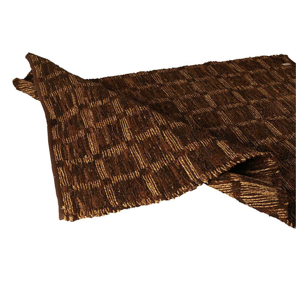 Tapete Médio Check Chocolate com Tiras de Couro e Fios de Sisal - 300x240 cm