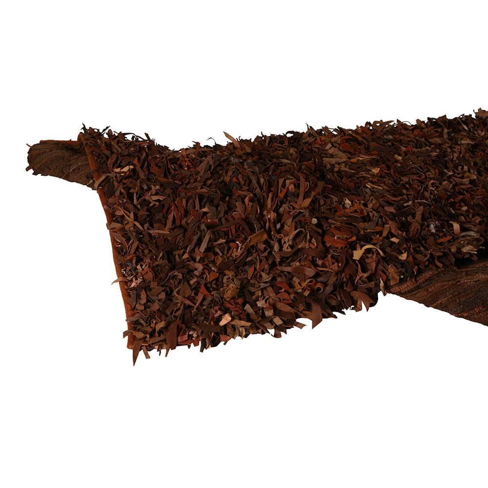 Tapete Médio Lounge Marrom em Tiras de Couro - 250x160 cm