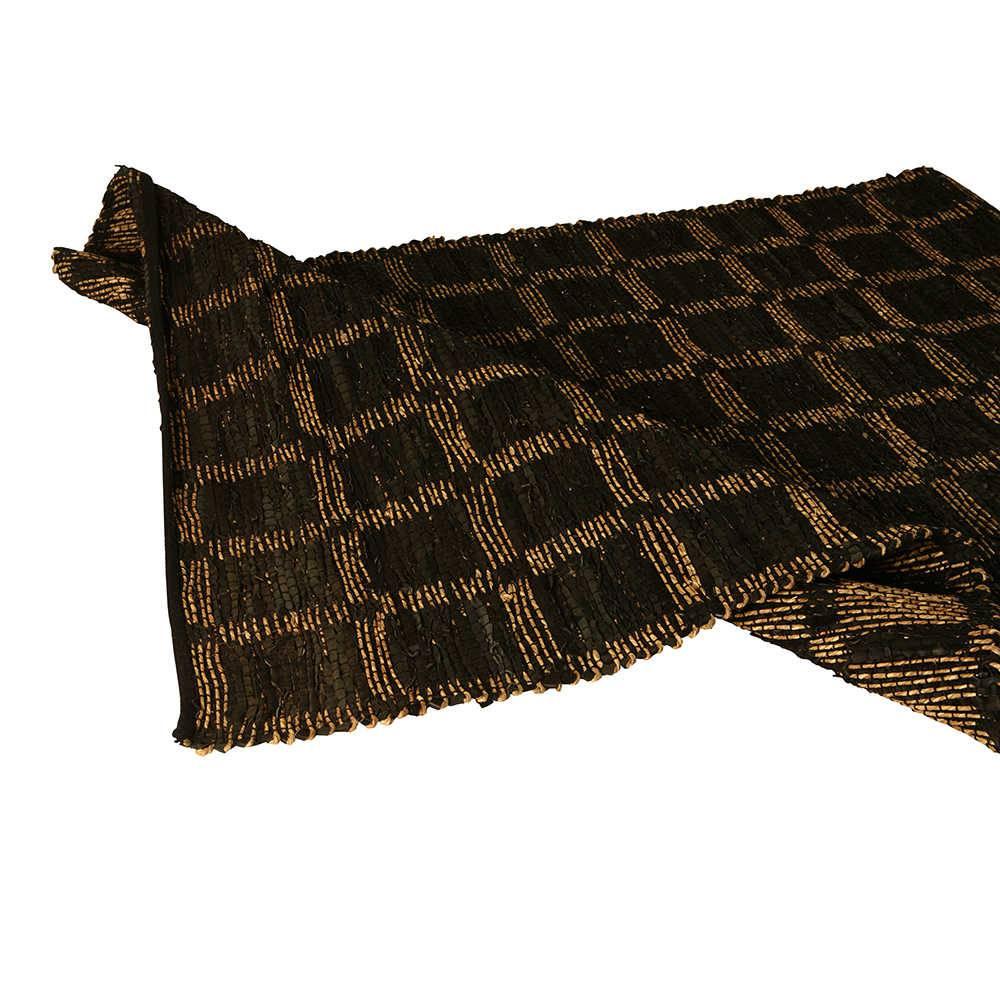 Tapete Pequeno Check Preto com Tiras de Couro e Fios de Sisal - 180x120 cm