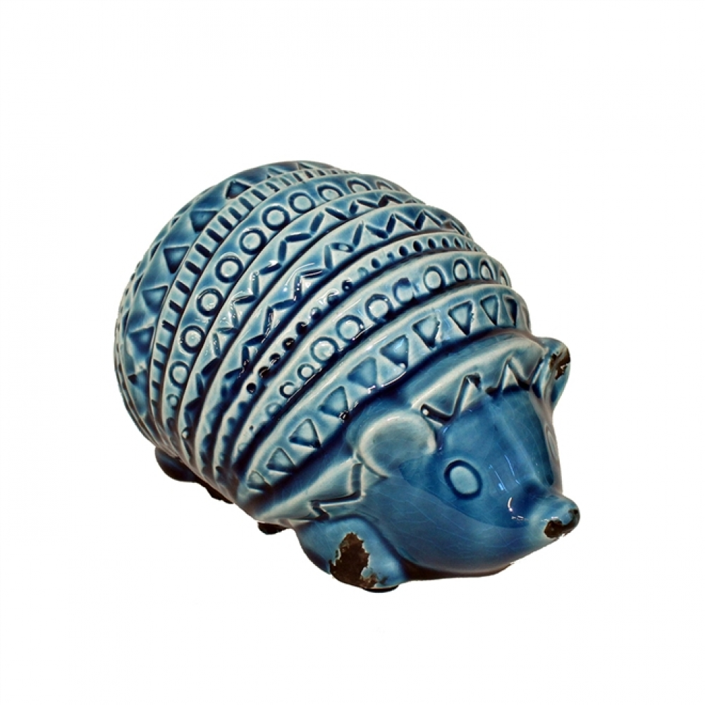 Tatu Cerâmica Azul Deitado