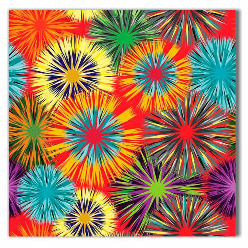 Tela Arabesco Colorida Impressão em Tecido Estrutura em Madeira - 50x50 cm