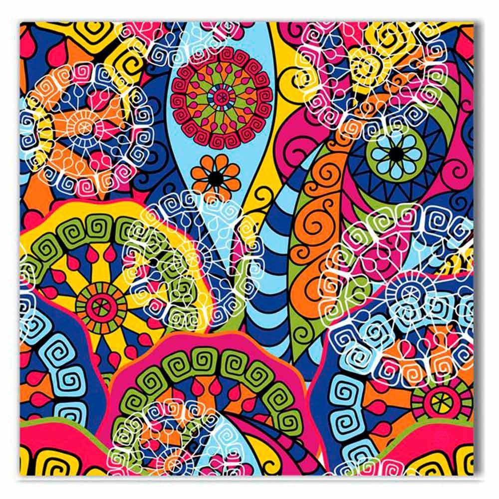 Tela Arabesco Colorido Impressão em Tecido Estrutura em Madeira - 50x50 cm