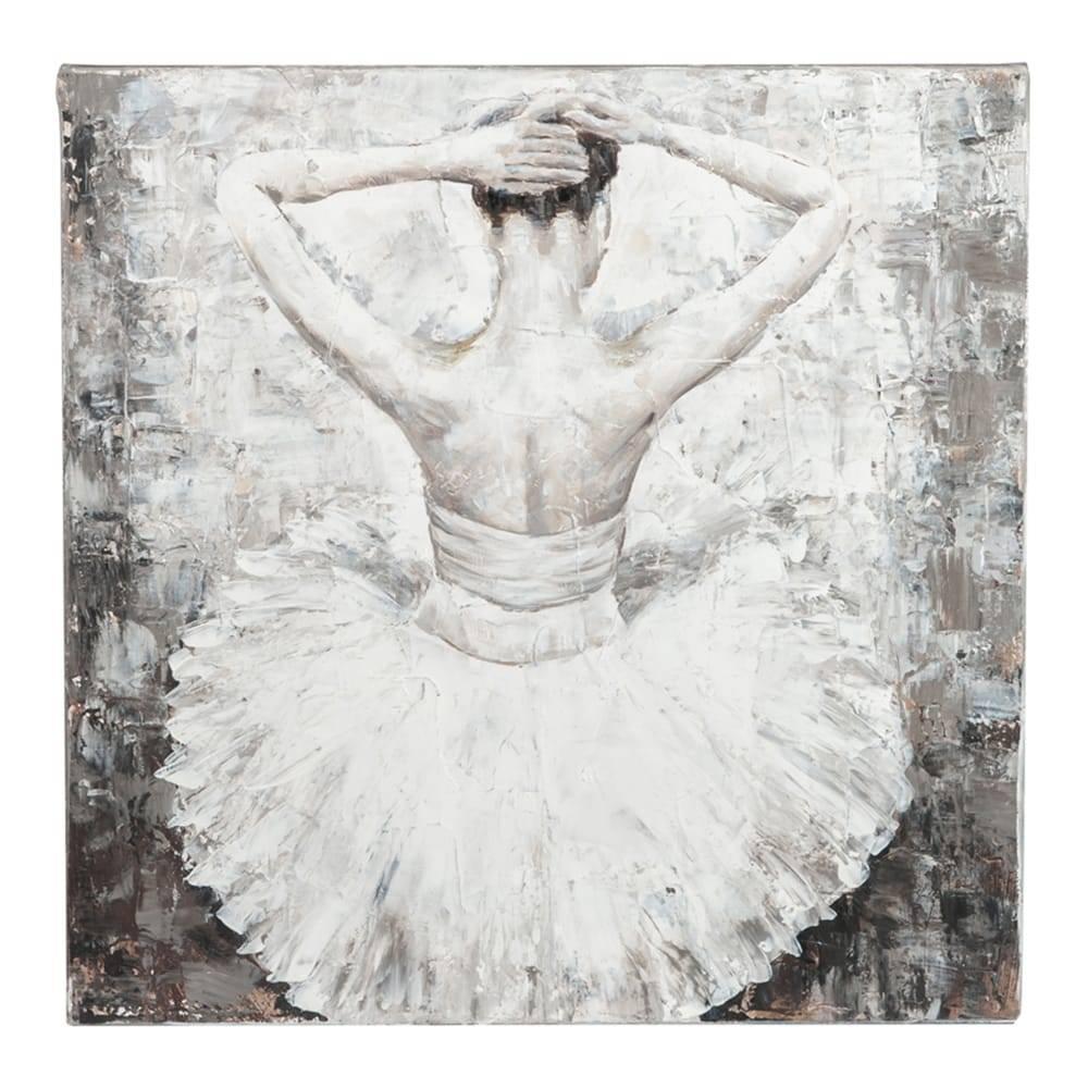 Tela Bailarina de Costas Branco e Cinza em MDF - 70x70 cm