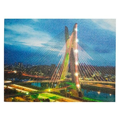 Tela c/ LEDs Ponte Estaiada SP Fullway - 40x30 cm