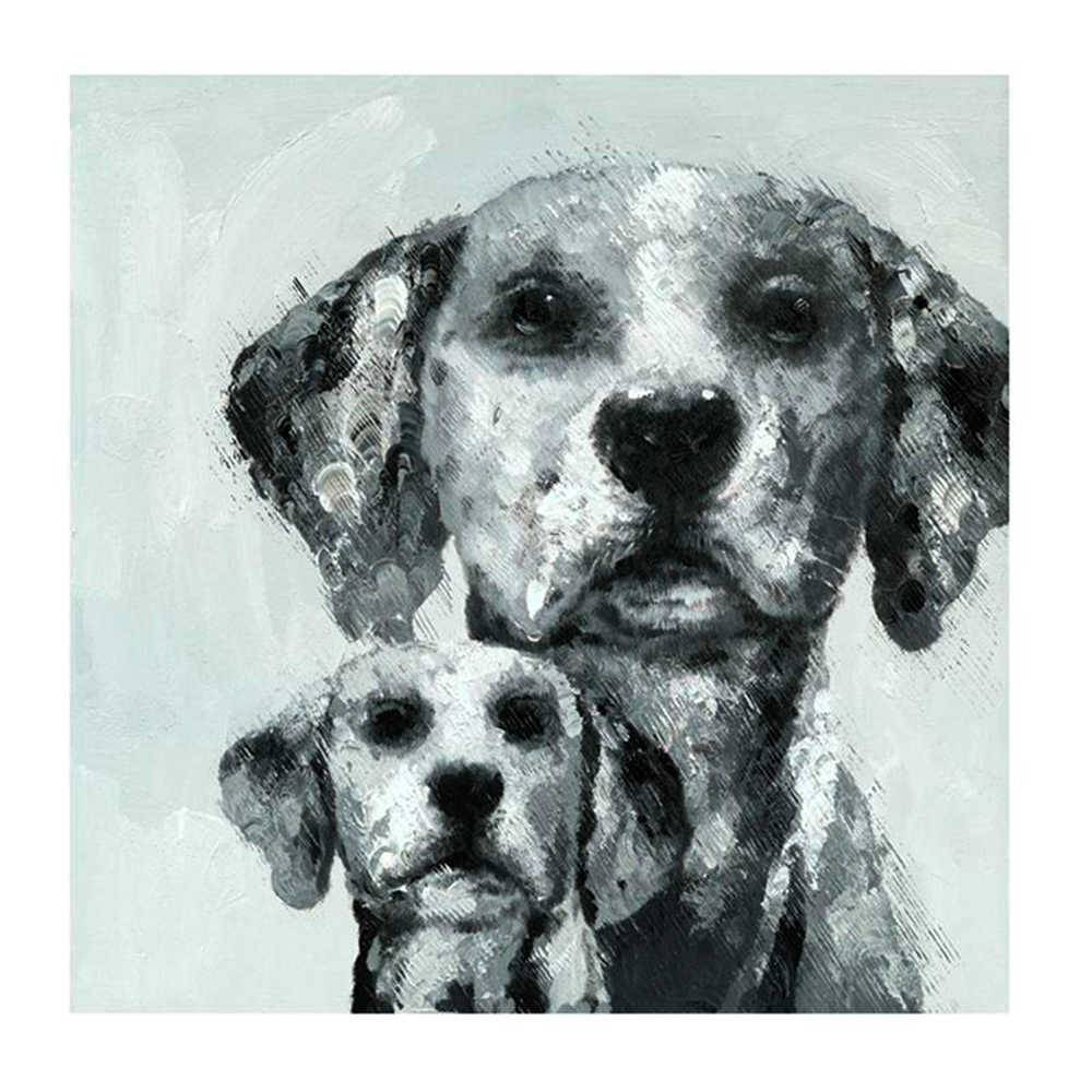 Tela Cães Bob Pai e Bob Filho Branco e Preto em Madeira - 80x80 cm