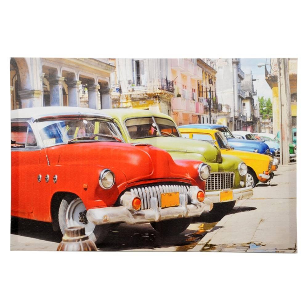 Tela Carros de Época Multicolorido em MDF - 60x40 cm
