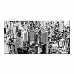 Tela City Buildings Branca e Preta em MDF - Urban - 120x60 cm