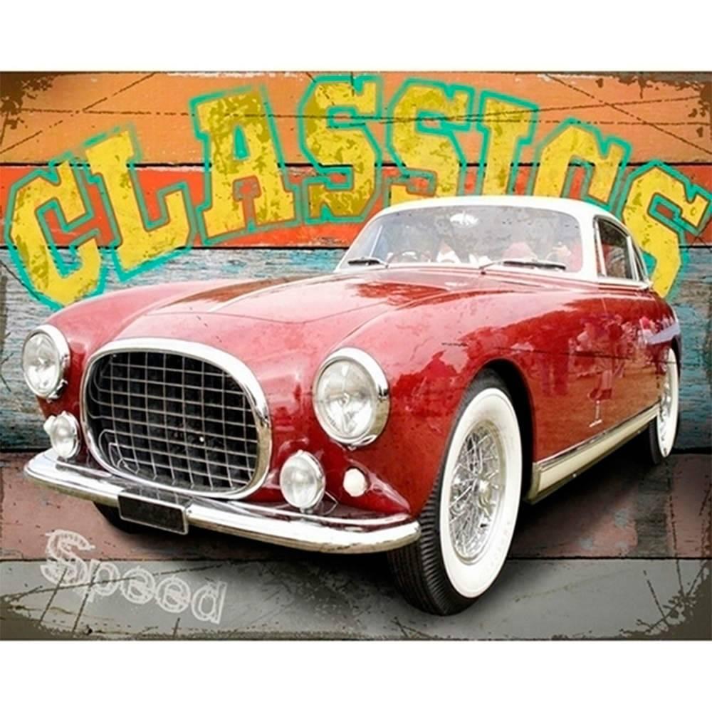 Tela Classics Red Car Vermelho em MDF - Urban - 50x40 cm