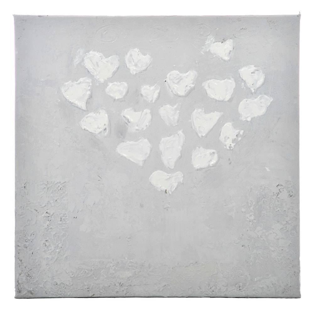 Tela Corações Cinza Claro em MDF - 60x60 cm