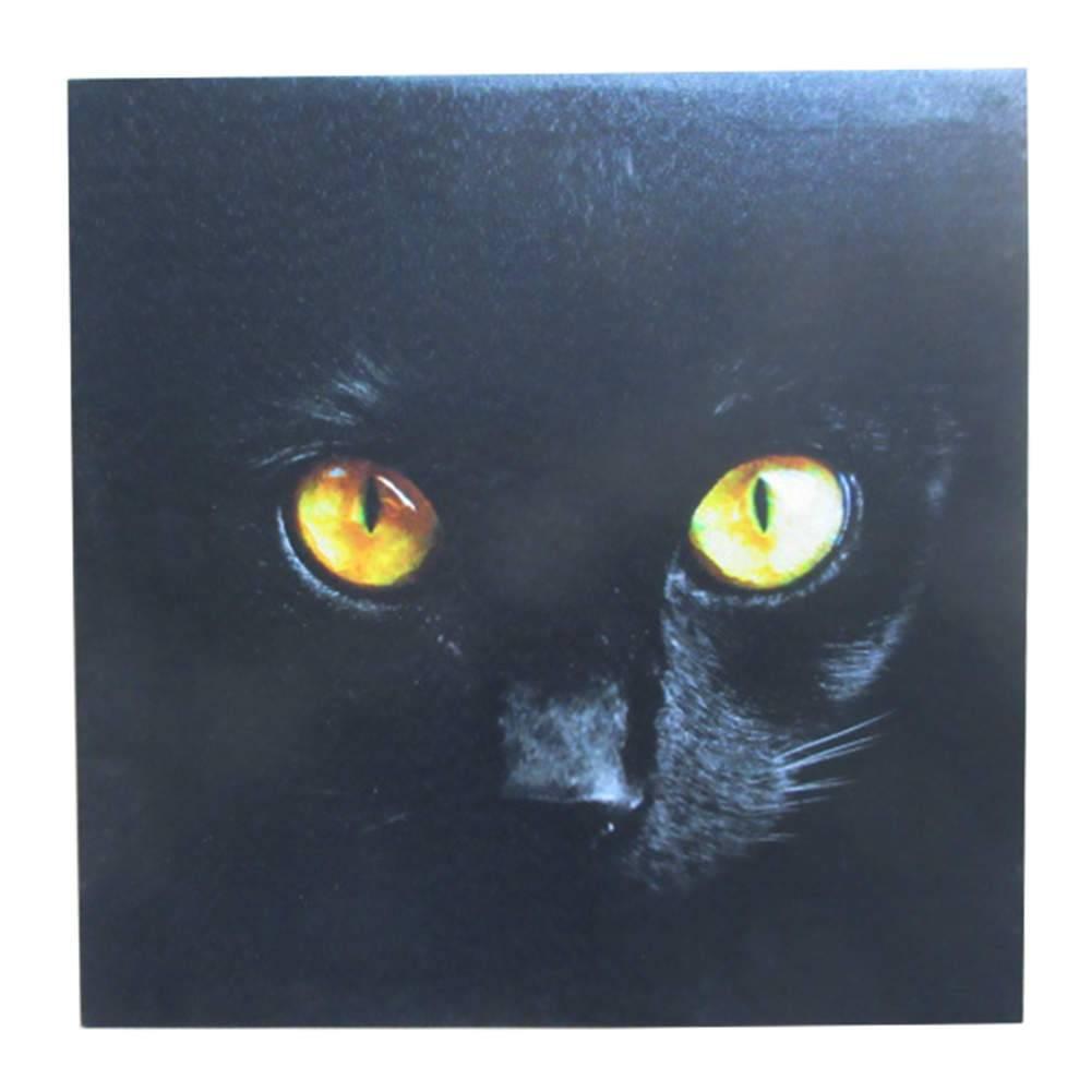 Tela Dark Cat Strong Eyes Preta em MDF - Urban - 40x40 cm