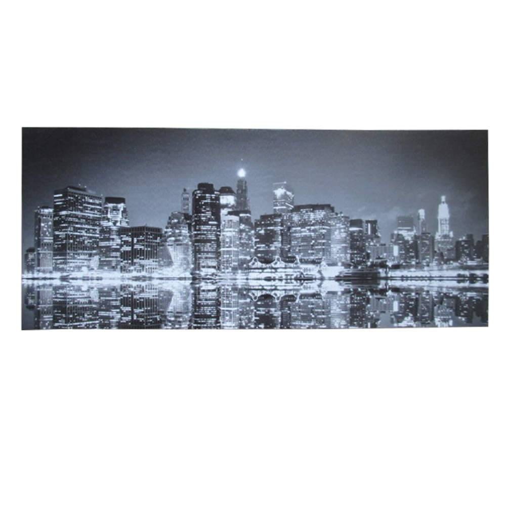Tela Dark Lake and City Fundo Preto em MDF - Urban - 70x30 cm