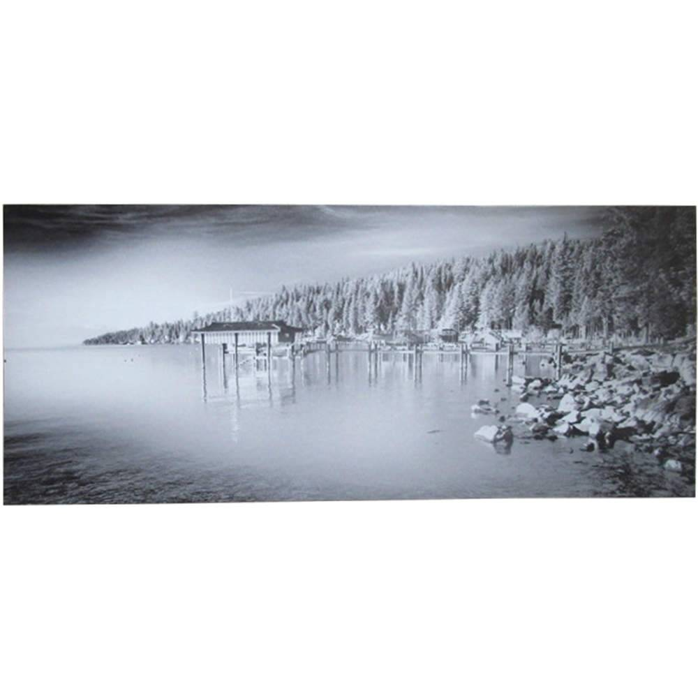 Tela Dark Lake and Pines Cinza em MDF - Urban - 70x30 cm