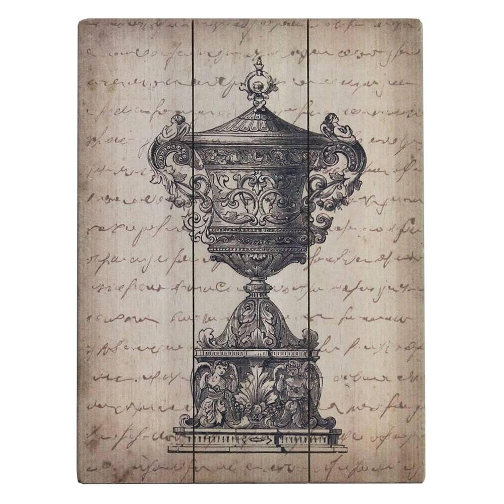 Tela Decorativa Anfora Bege em Madeira - 40x30 cm
