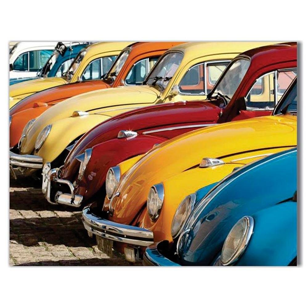 Tela Fuscas Coloridos Retrô Impressão em Tecido Estrutura em Madeira - 90x70 cm