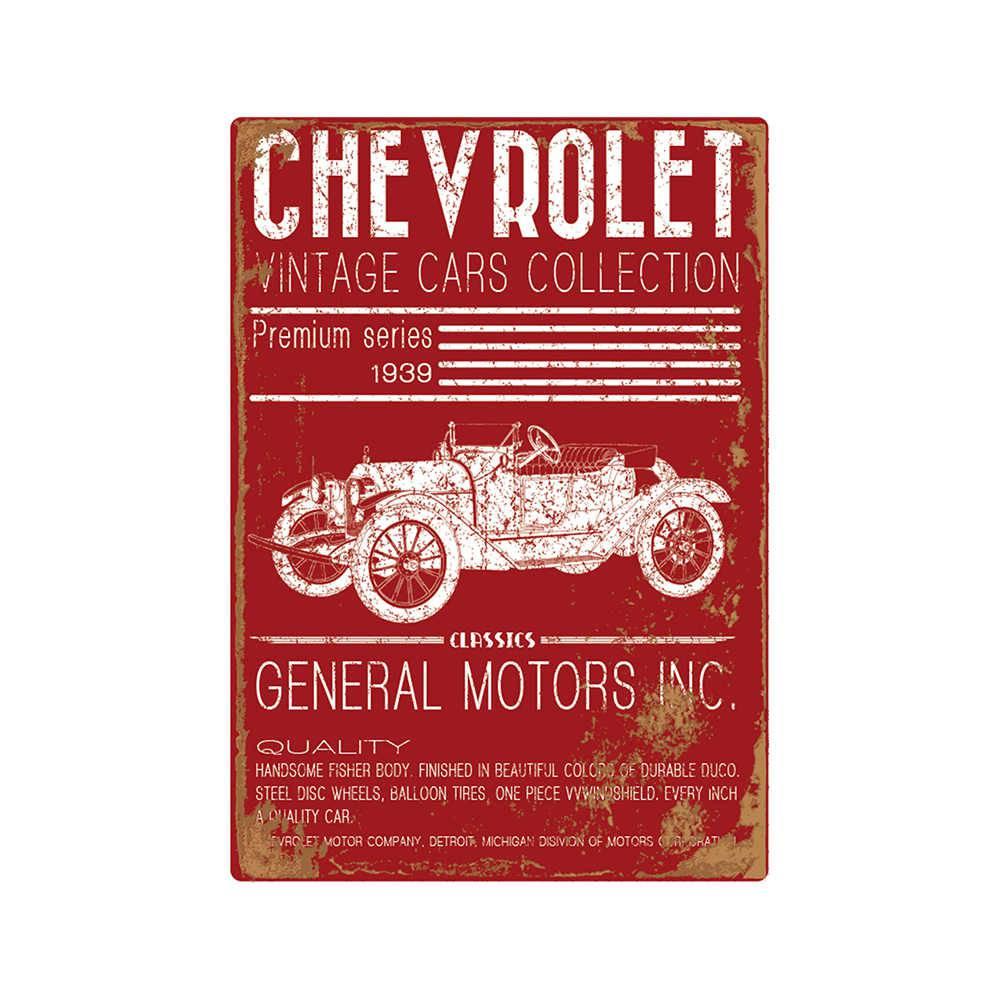 Tela GM Jalopy Vintage Cars Collection Vermelho em Madeira - Urban - 60x40 cm