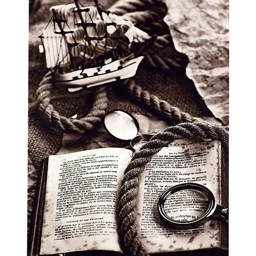 Tela História - Livro / Lupa e Barco - Impressão Digital - 30x40 cm