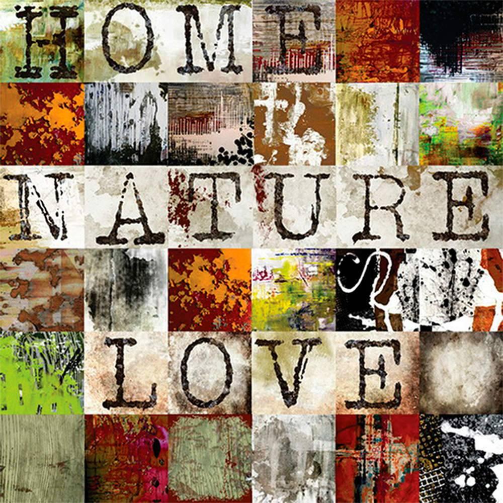 Tela Home Nature Love Fundo Quadrados Coloridos em MDF - Urban - 100x100 cm