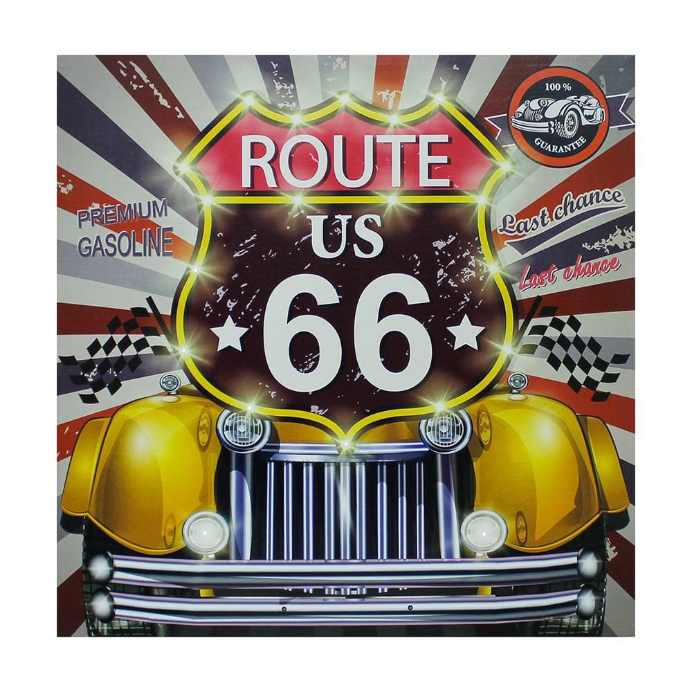 Tela Impresa com Led Route 66 Yellow Fullway - 80x80x4 cm