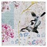 Tela Impressa 2 Pássaros Voando Flor Fullway - 90x90 cm