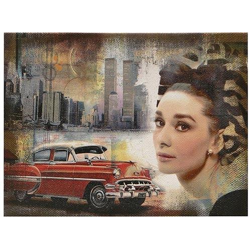 Tela Impressa Audrey Hepburn Red Car Oldway - 30x40 cm