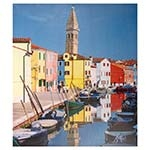 Tela Impressa Barcos no Canal em Veneza Fullway - 60x50 cm