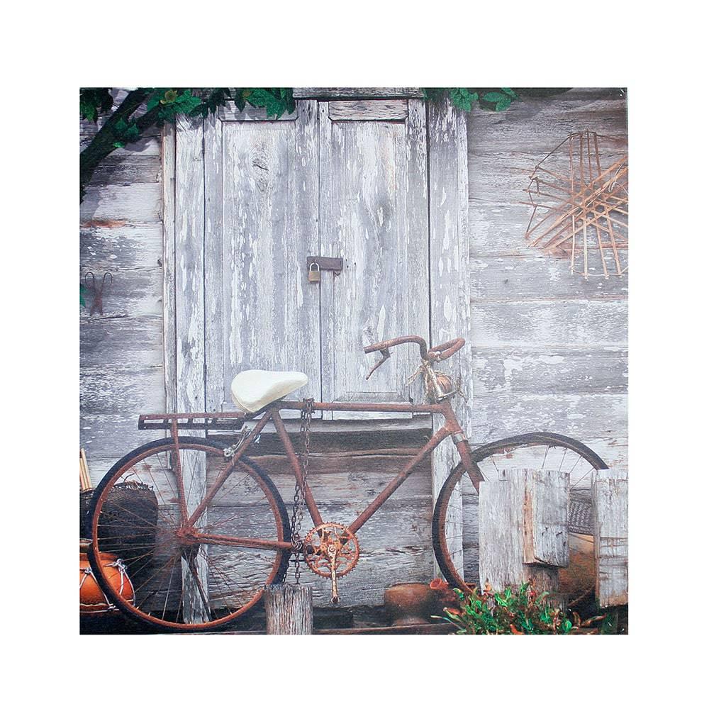 Tela Impressa Bicicleta Enferrujada Oldway - 90x90x4 cm