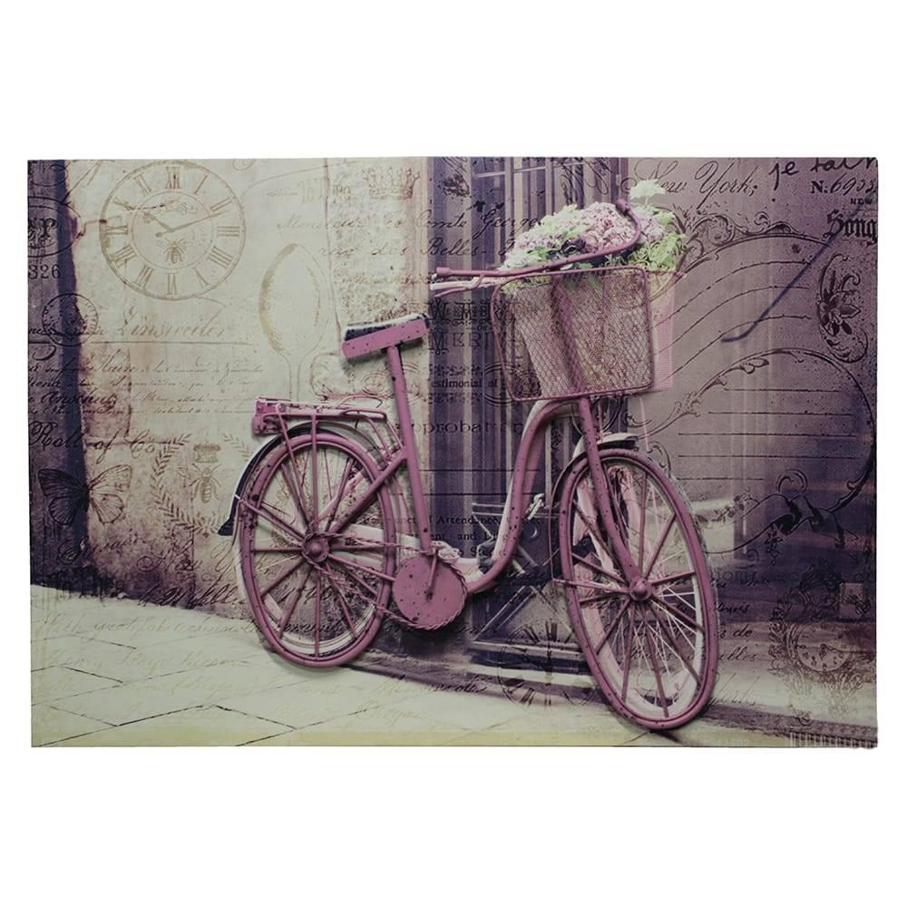 Tela Impressa Bike Rosa Fullway em MDF - 100x70 cm