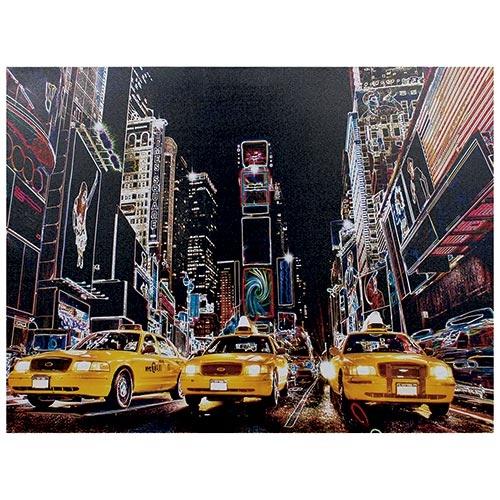 Tela Impressa c/ Leds New York Taxis Amarelos Fullway - 80x60 cm